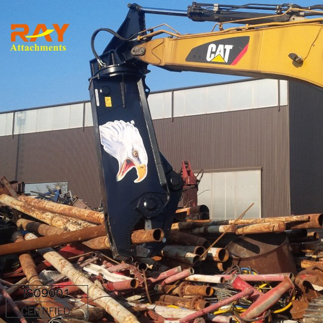 Hydraulic crusher excavator machines at site demolition