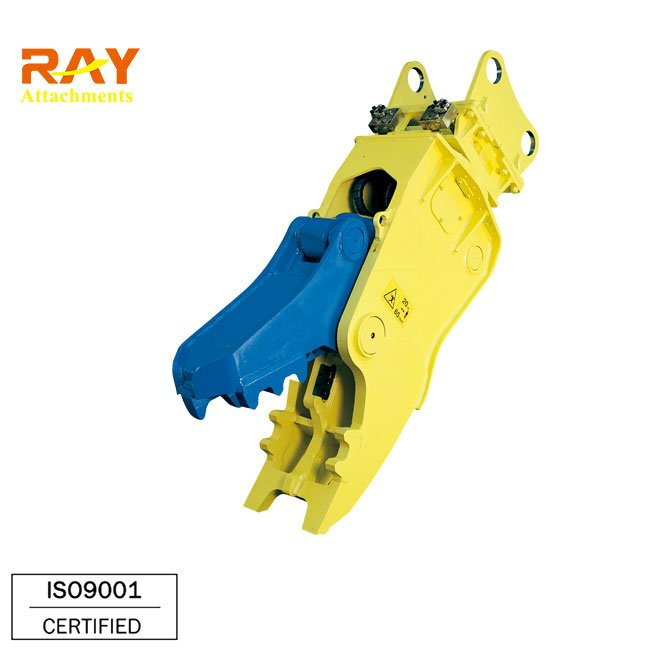 Hydraulic crusher excavator backoe machinery working on deconstruction area