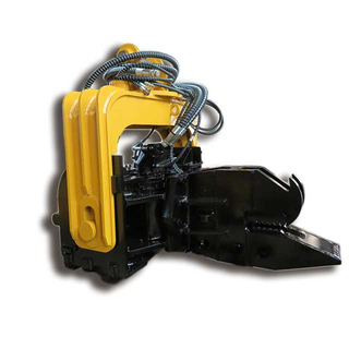 Hydraulic vibrating pile driver for excavator